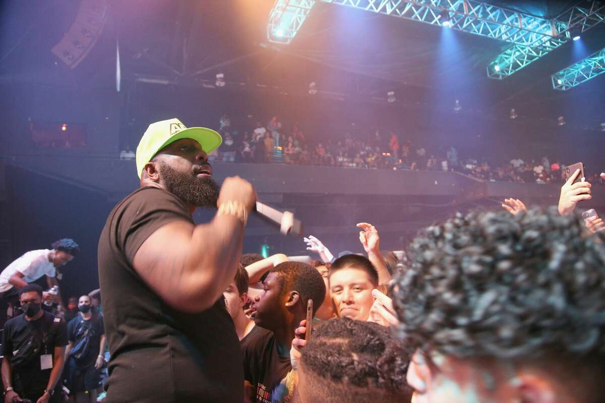 """Trae tha Truth performs during """"RapCaviar Presents James Harden & Friends"""" at Bayou Music Center on August 28, 2021 in Houston, Texas."""
