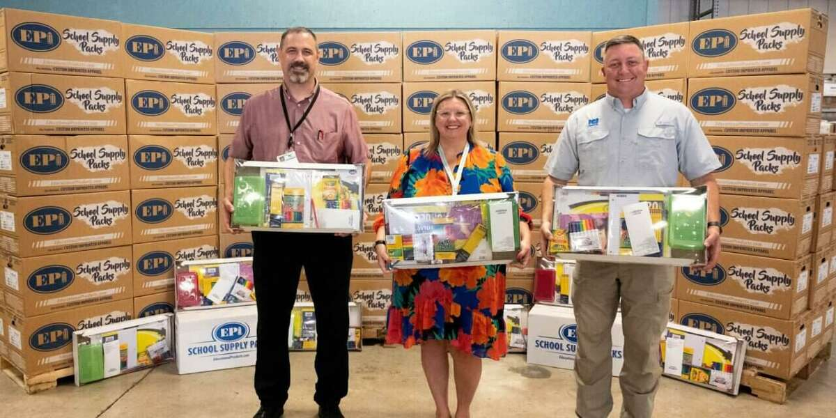 ICI Construction with school supply kits. They donated the kits to Klein ISD for students at all grade levels.