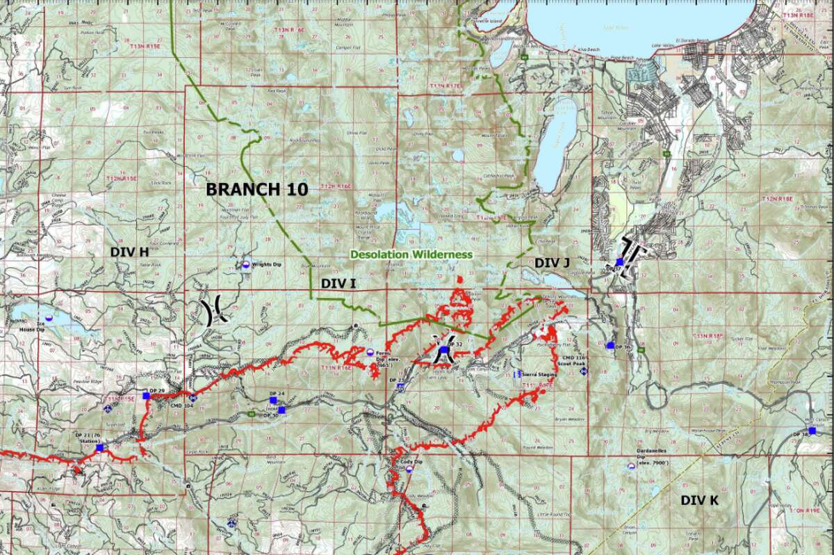 The Cal Fire operations map for the Caldor Fire burning near Lake Tahoe on Aug. 30, 2021. The south shore of the lake can be seen at the top right.