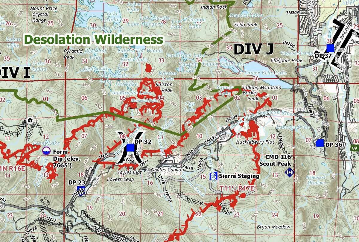 The Cal Fire operations map for the Caldor Fire burning near Lake Tahoe on Aug. 30, 2021. The close-up shows the fire line encroaching into Desolation Wilderness.