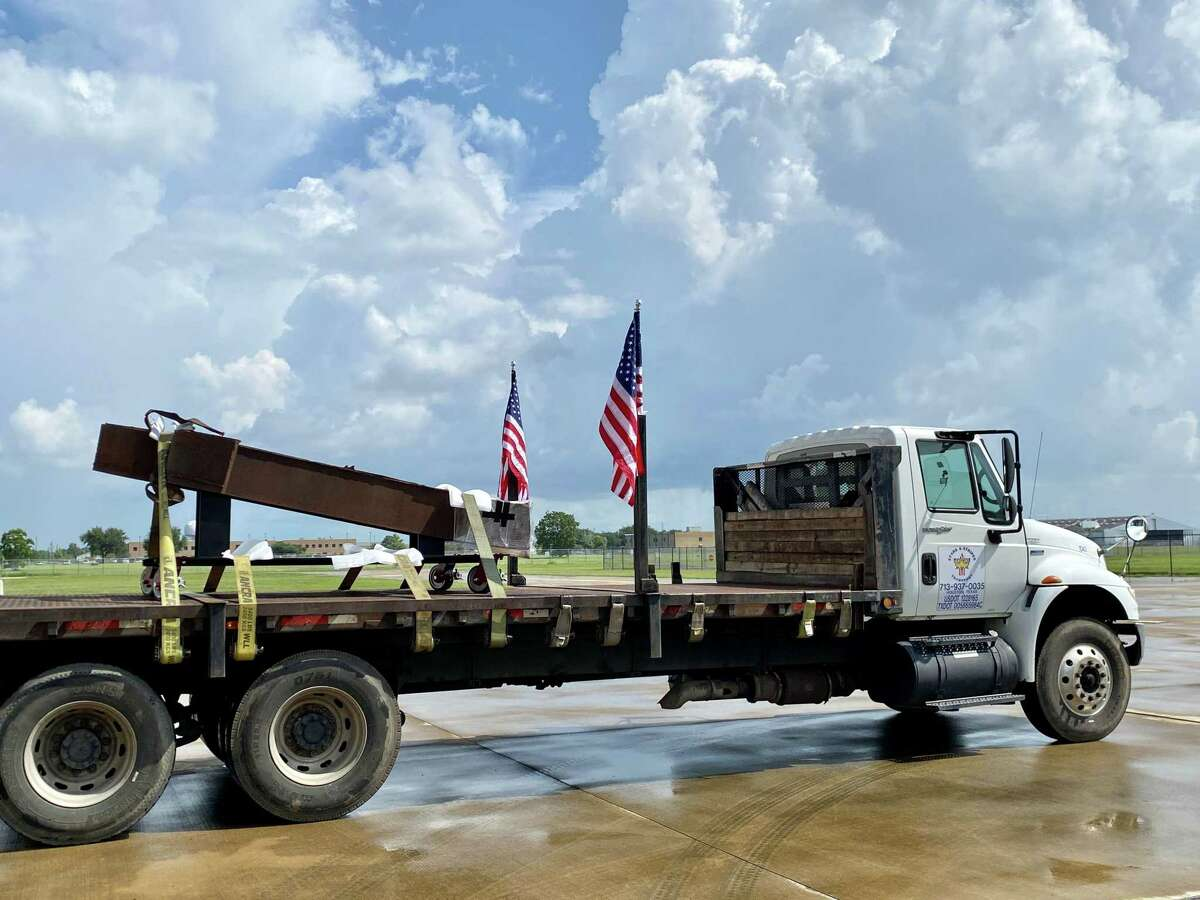 """The Lone Star Flight Museum at Ellington Airport in southeast Houston plans to open its """"Never Forget: Commemorating the 20th Anniversary of 9/11"""" exhibit on Wednesday, Sept 1. This 11-foot section of a World Trade Center I-beam will be on display."""