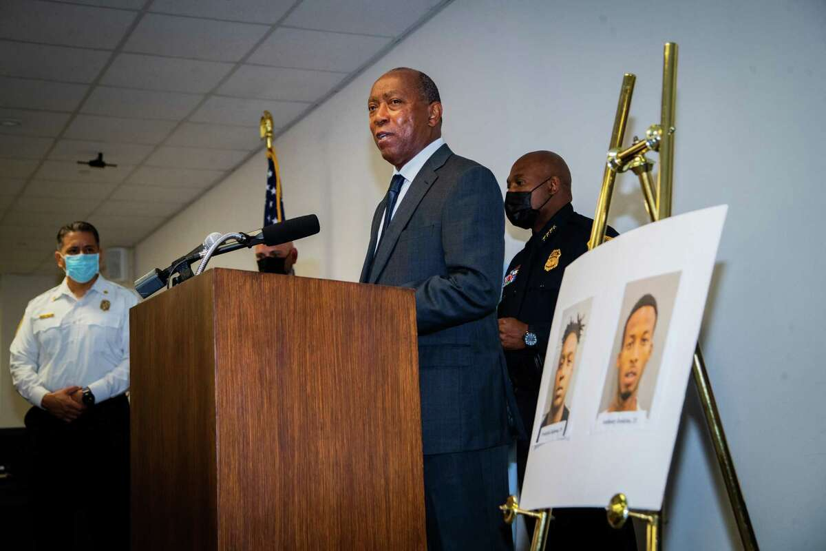 Houston Mayor Sylvester Turner speaks during a press conference to provide updates on the investigation in the murder of off-duty New Orleans Police officer Everett Briscoe, Friday, Aug. 27, 2021, in Houston. HPD and the City of Houston announced the arrest of Anthony Jenkins and Frederick Jackson for their alleged involvement in the murder of the officer.