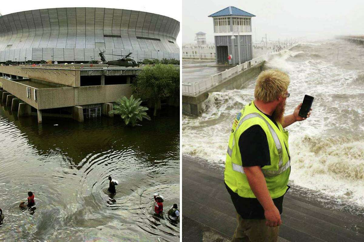 Flooding from Hurricane Katrina (left) and Hurricane Ida (right) are pictured together in this composite image.