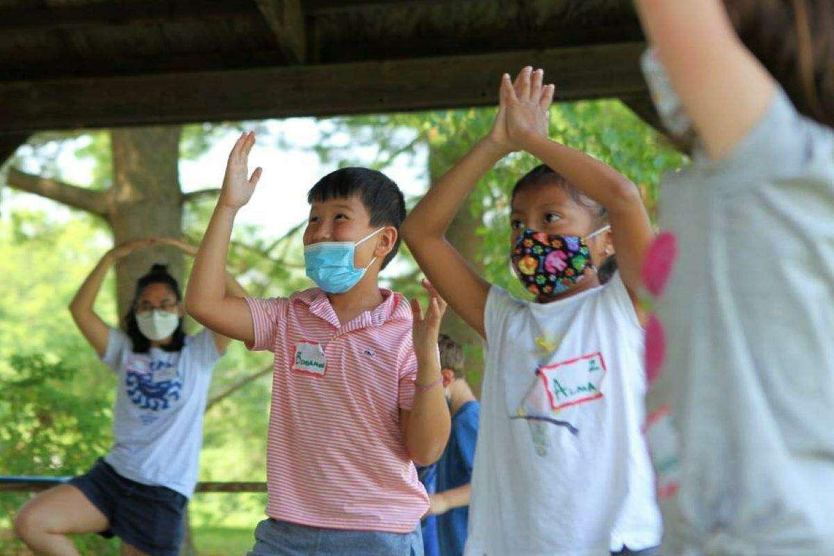Children in a theater movement program.