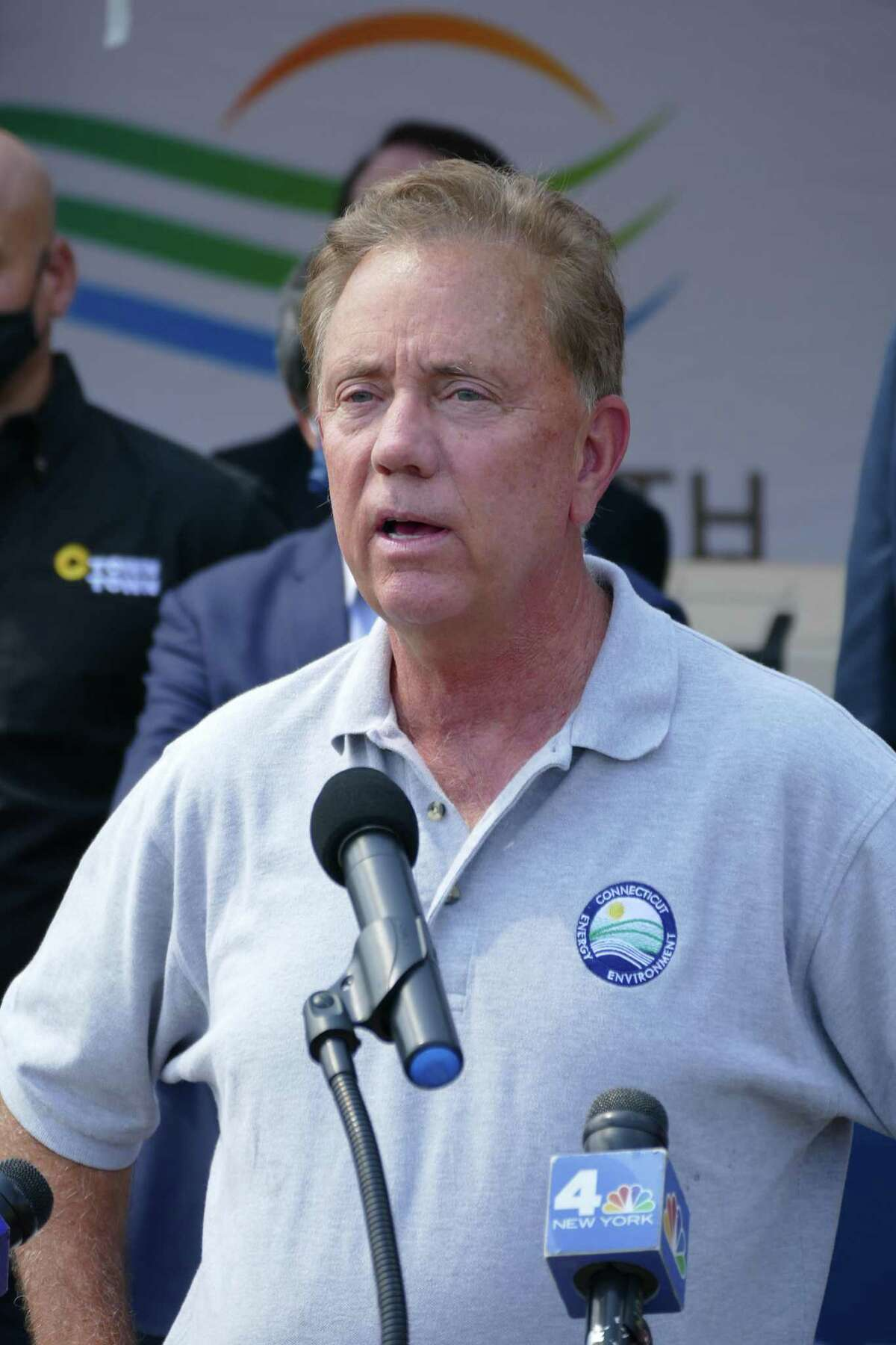 Gov. Ned Lamont speaks during a press conference outside the CTown grocery store on North Street in Danbury, Conn. Friday, Aug. 27, 2021.