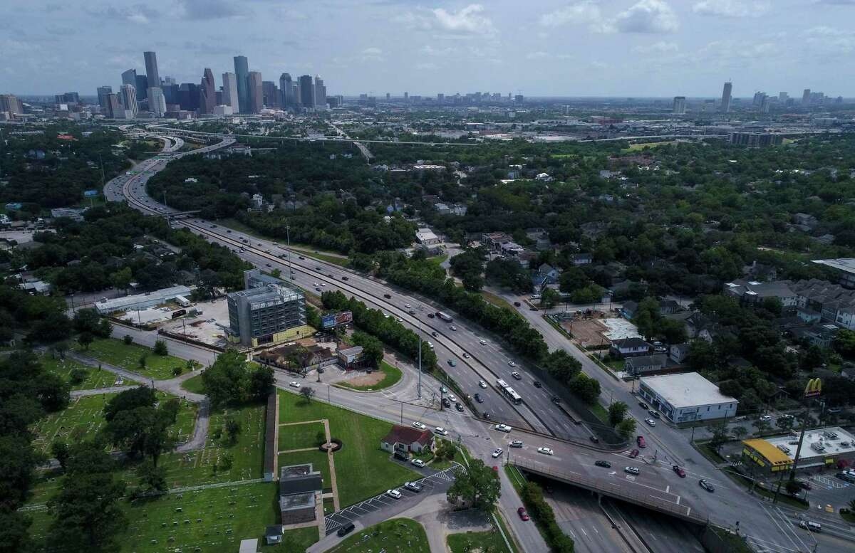 Traffic along Interstate 45 travels under North Main Street, north of downtown, on July 5, 2019, in Houston.