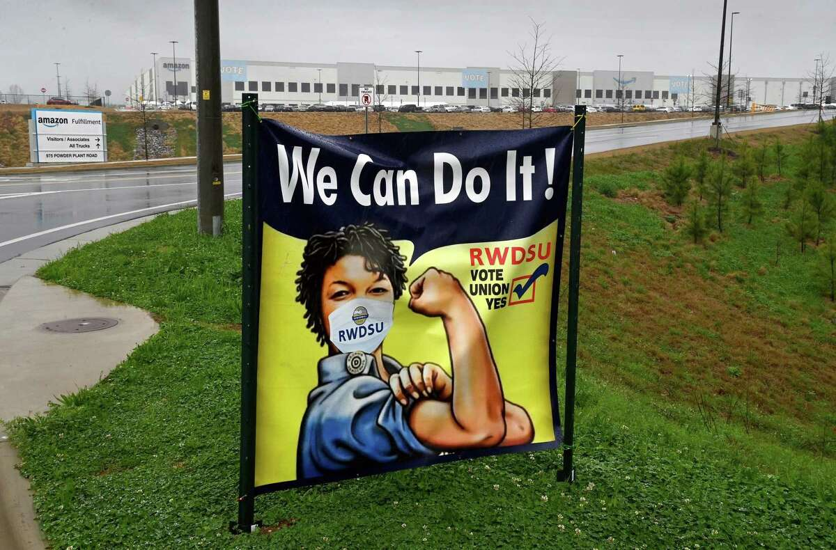 A sign at the entrance of Amazon's Bessemer warehouse during a union campaign in early 2021 to organize its nearly 6,000 workers. MUST CREDIT: Washington Post photo by Michael S. Williamson.