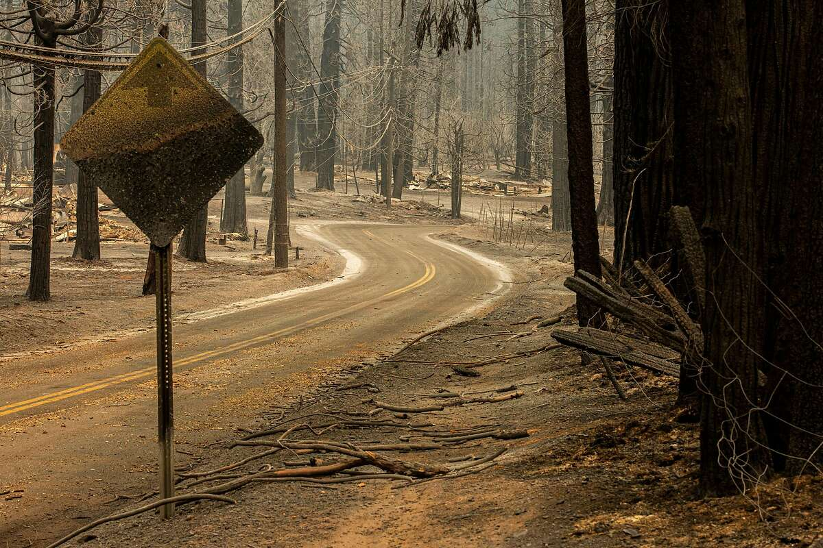 Grizzly Flat Road, Wednesday, Aug. 18, 2021, in Grizzly Flats, Calif. The area was destroyed in the Caldor Fire.
