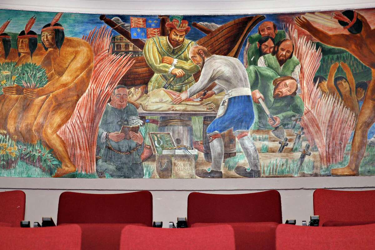 A mural that is part of a series of medical history in California painted by artist Bernard Zakheim resides in Toland Hall at UCSF Parnassus campus in San Francisco. A judge ordered a temporary halt to removal operations.