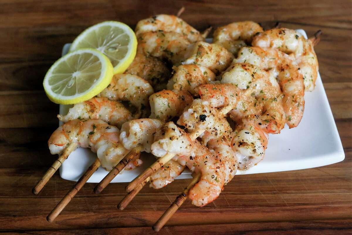Grilled shrimp scampi on skewers at Chuck's Food Shack