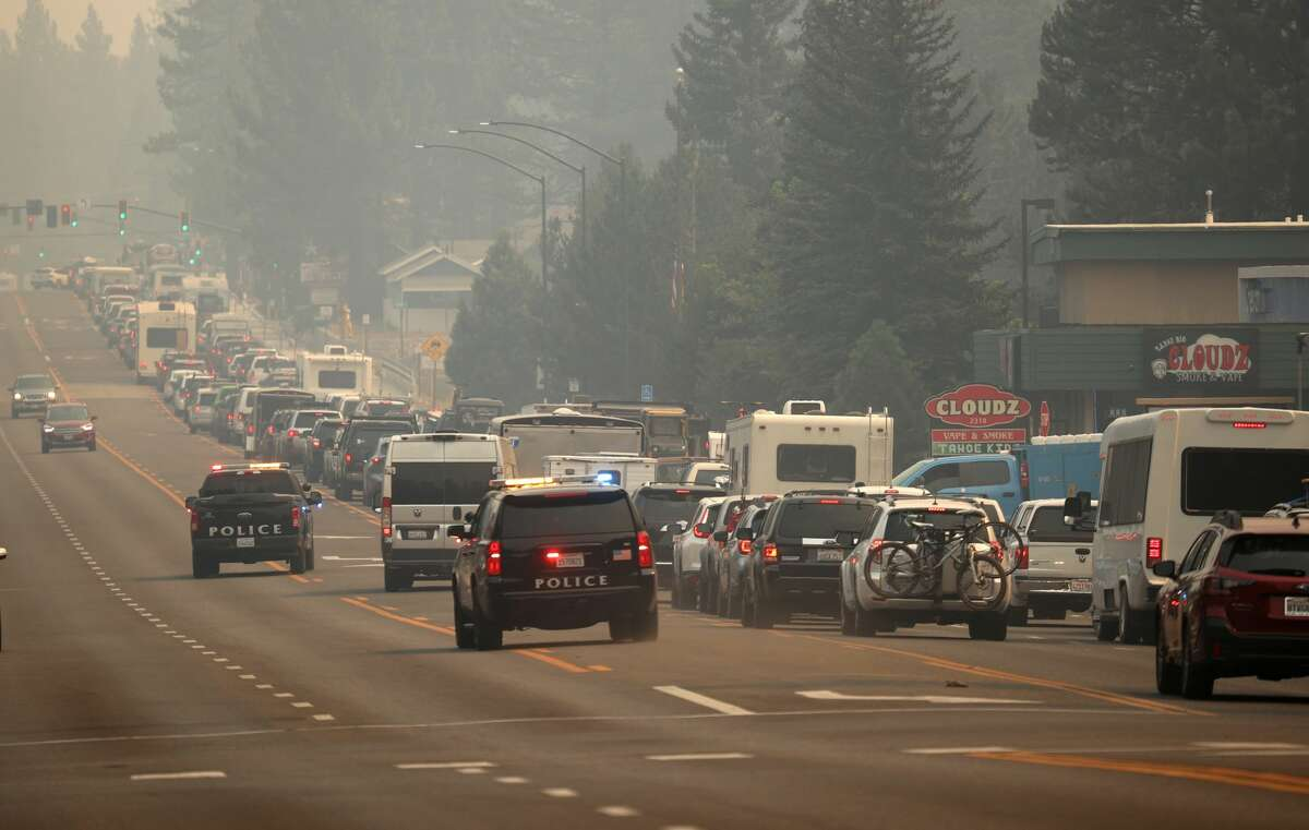 Traffic returned to Hwy 50 on August 30, 2021, as people exited before a Caldor fire at South Lake Tahoe.