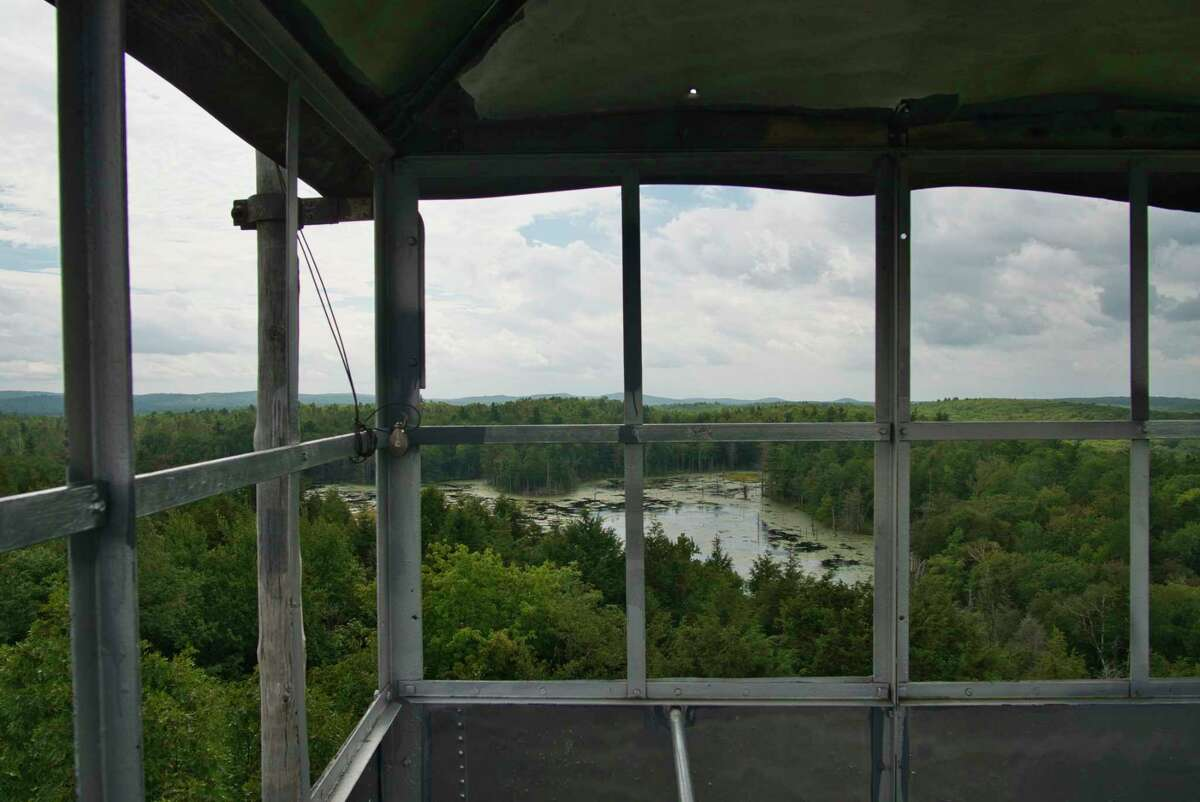 A view looking out from the top of the Dickinson Fire Tower on Monday, Aug. 30, 2021, in Petersburg, N.Y. The Friends of Grafton Lakes State Park group began restoration efforts on the fire tower in 2012, and the tower is now fully operational.