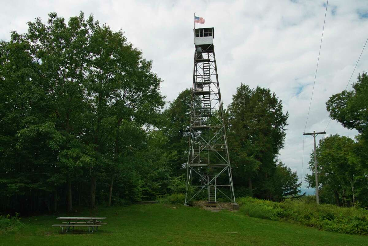 A view of the Dickinson Fire Tower on Monday, Aug. 30, 2021, in Petersburg, N.Y. The Friends of Grafton Lakes State Park group began restoration efforts on the fire tower in 2012, and the tower is now fully operational.