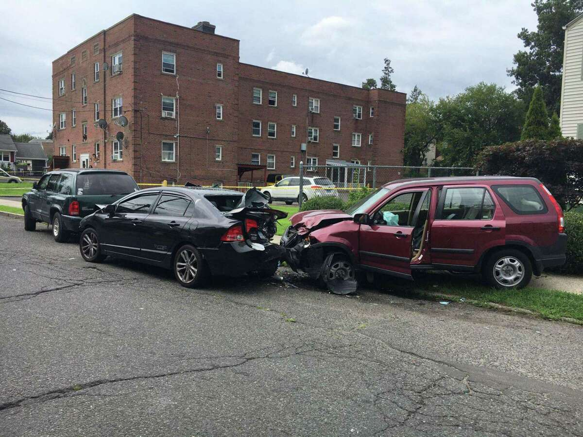 Bridgeport Police investigating a motor vehicle accident with shots fired. The incident resulted in a homicide. Bridgeport Police Department /Contributed