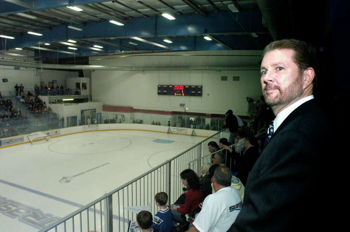 """In this file photo, James Galante watches from his private box on the opening night of the Trasher's first season in Danbury.(2004) The Danbury Trashers are the subject of a new documentary, """"Untold: Crime and Penalties,"""" on Netflix."""