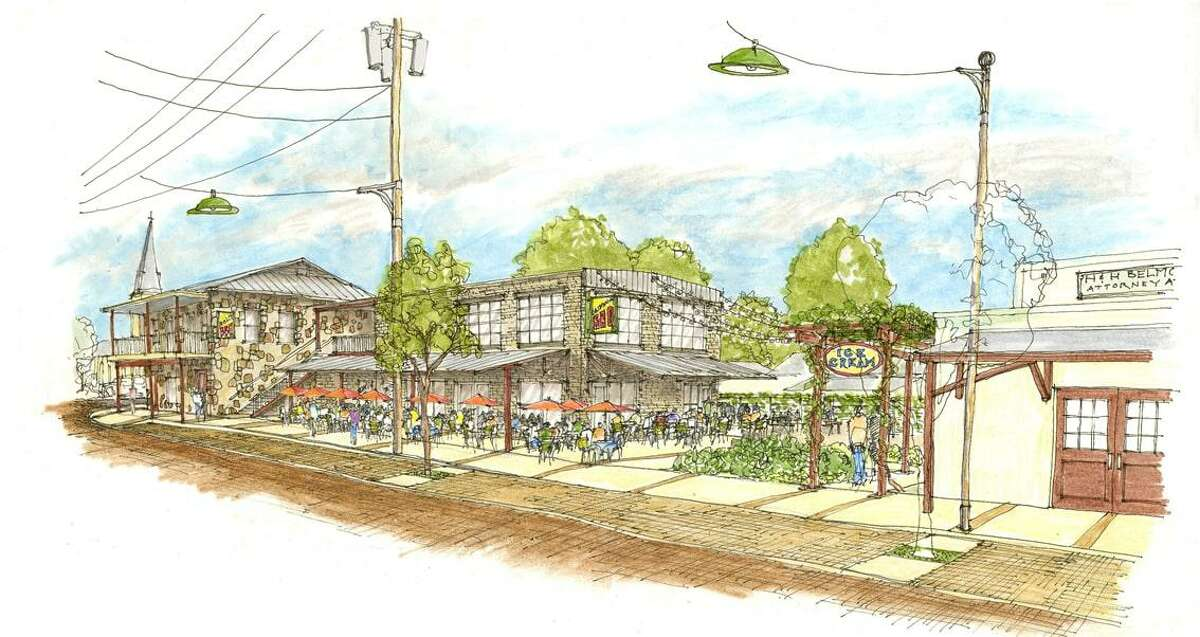 Renderings of buildings the Castroville Downtown Redevelopment Fund plans to renovate.
