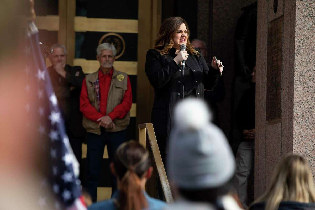 Abby Johnson, a prominent anti-abortion activitst, speaks to the crowd during a legislative priorities rally held by the Republican Party of Texas at the Texas State Capitol on Saturday, January 9, 2021 in Austin, Tx., U.S.
