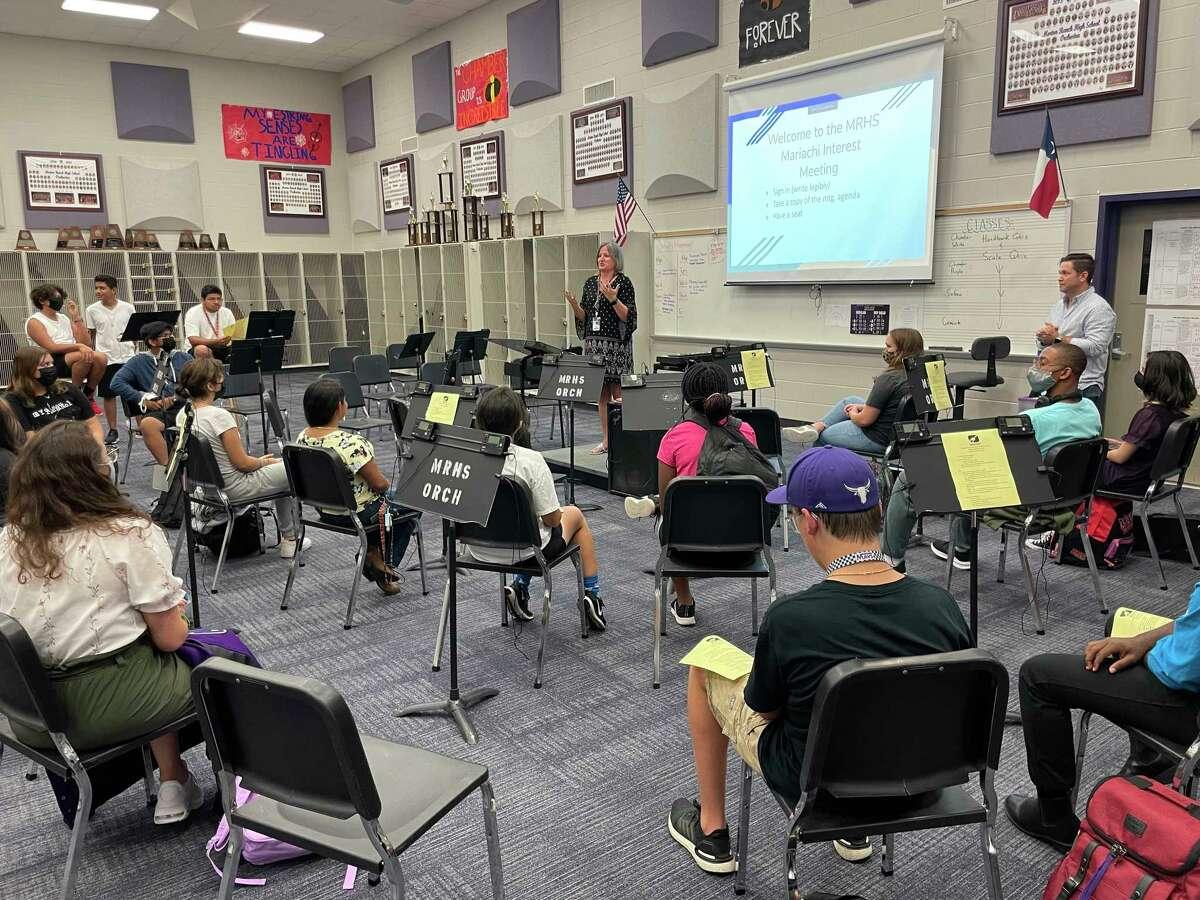 Morton Ranch High School principal Julie Hinson addresses the school's new mariachi band on Aug. 26, 2021.