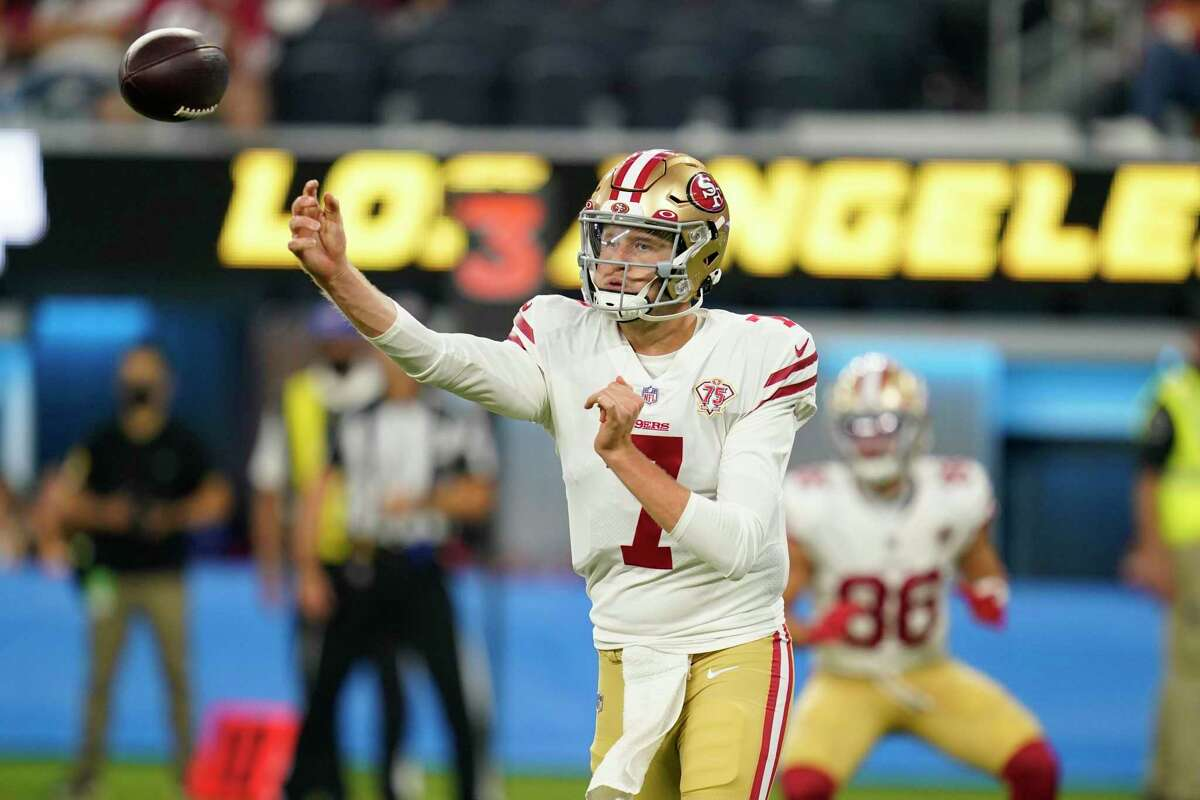 San Francisco 49ers quarterback Nate Sudfeld throws during the second half of a preseason NFL football game against the Los Angeles Chargers Sunday, Aug. 22, 2021, in Inglewood, Calif. (AP Photo/Ashley Landis)