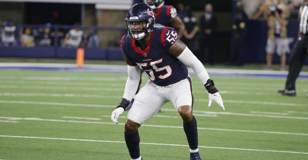 Houston Texans linebacker Tae Davis (55) defends during an NFL Football game against the Dallas Cowboys in Arlington, Texas, Saturday, Aug. 21, 2021. (AP Photo/Michael Ainsworth)