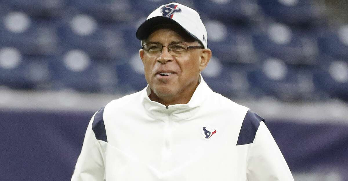 Houston Texans head coach David Culley during warmups before the start of an NFL pre-season football game at NRG Stadium, Saturday, August 28, 2021, in Houston.