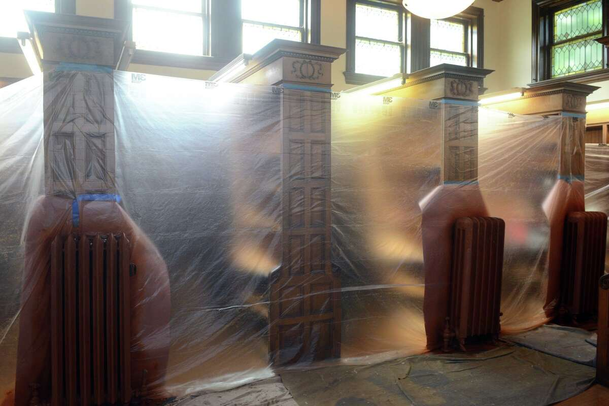 Renovations currently underway in the original 1895 section of Plumb Memorial Library, in Shelton, Conn. Aug. 27, 2021.