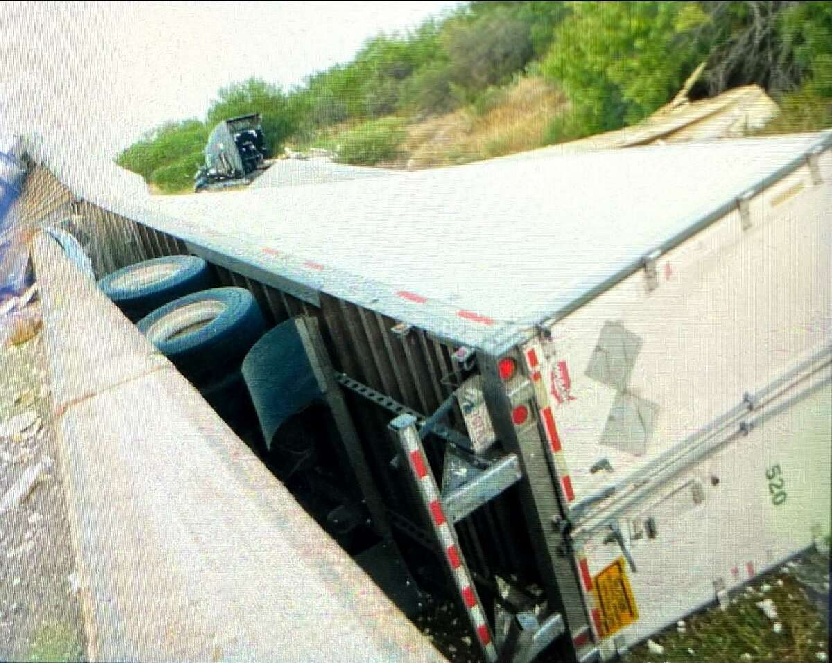 The Texas Department of Public Safety said this 18-wheeler crashed into a guard rail near the intersection of Las Tiendas Road and Texas 255.