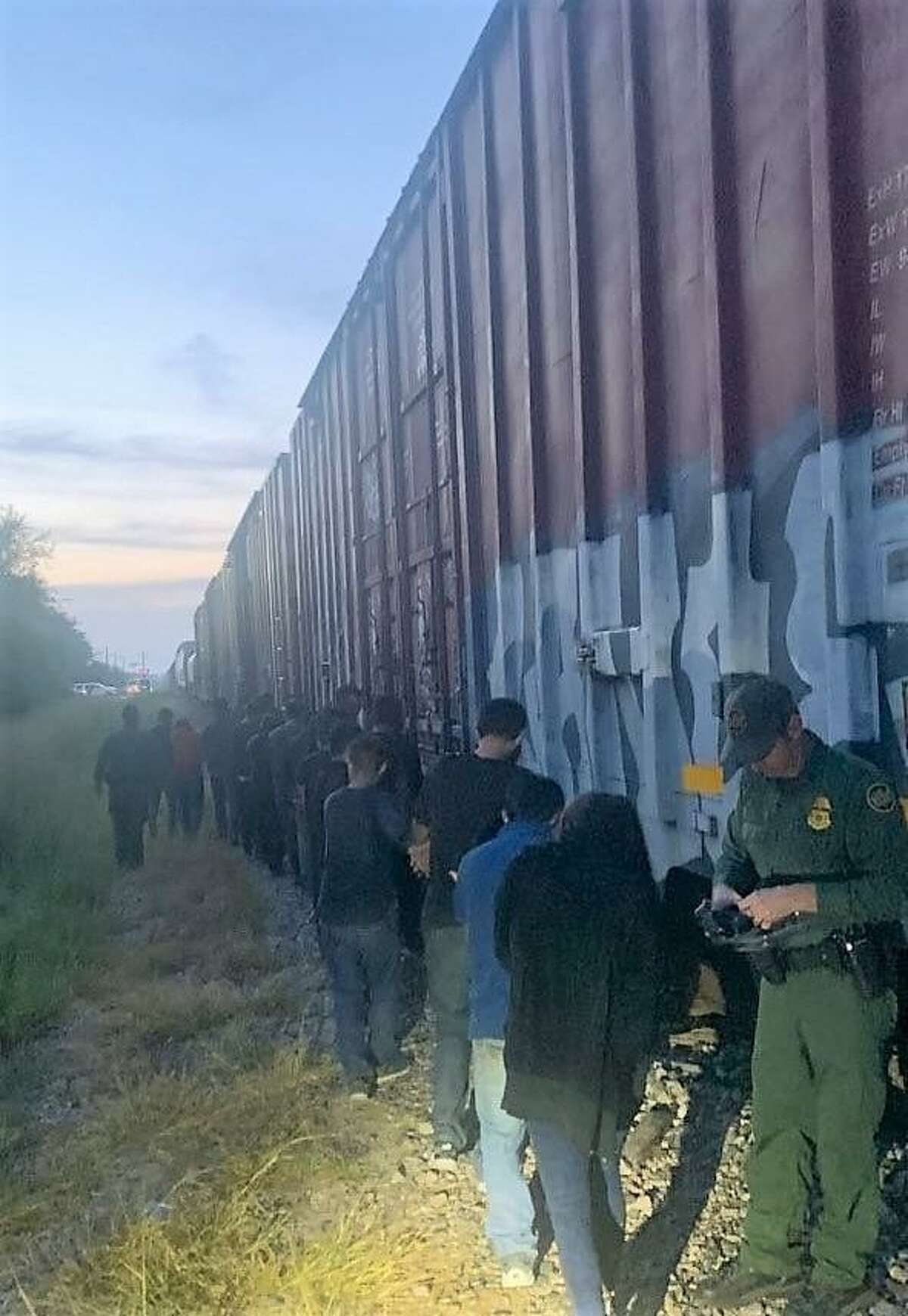 U.S. Border Patrol agents discovered 18 migrants while conducting train inspections near Hebbronville.