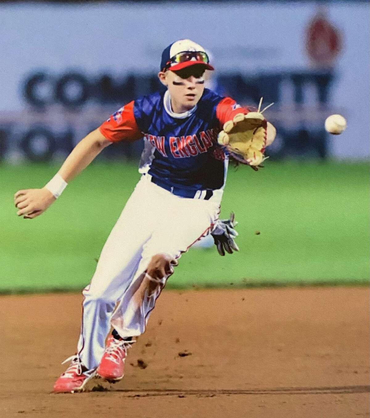 Norwalk's Freddy Melton fields the ball during the 13U Babe Ruth Baseball World Series in Jamestown, N.Y., in August, 2021.