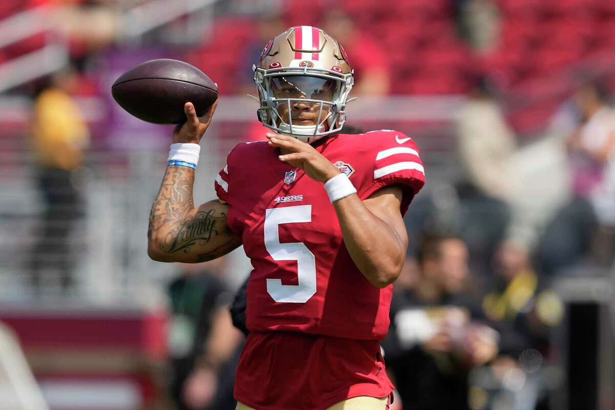 San Francisco 49ers quarterback Trey Lance (5) before an NFL preseason football game against the Las Vegas Raiders in Santa Clara, Calif., Sunday, Aug. 29, 2021. (AP Photo/Tony Avelar)
