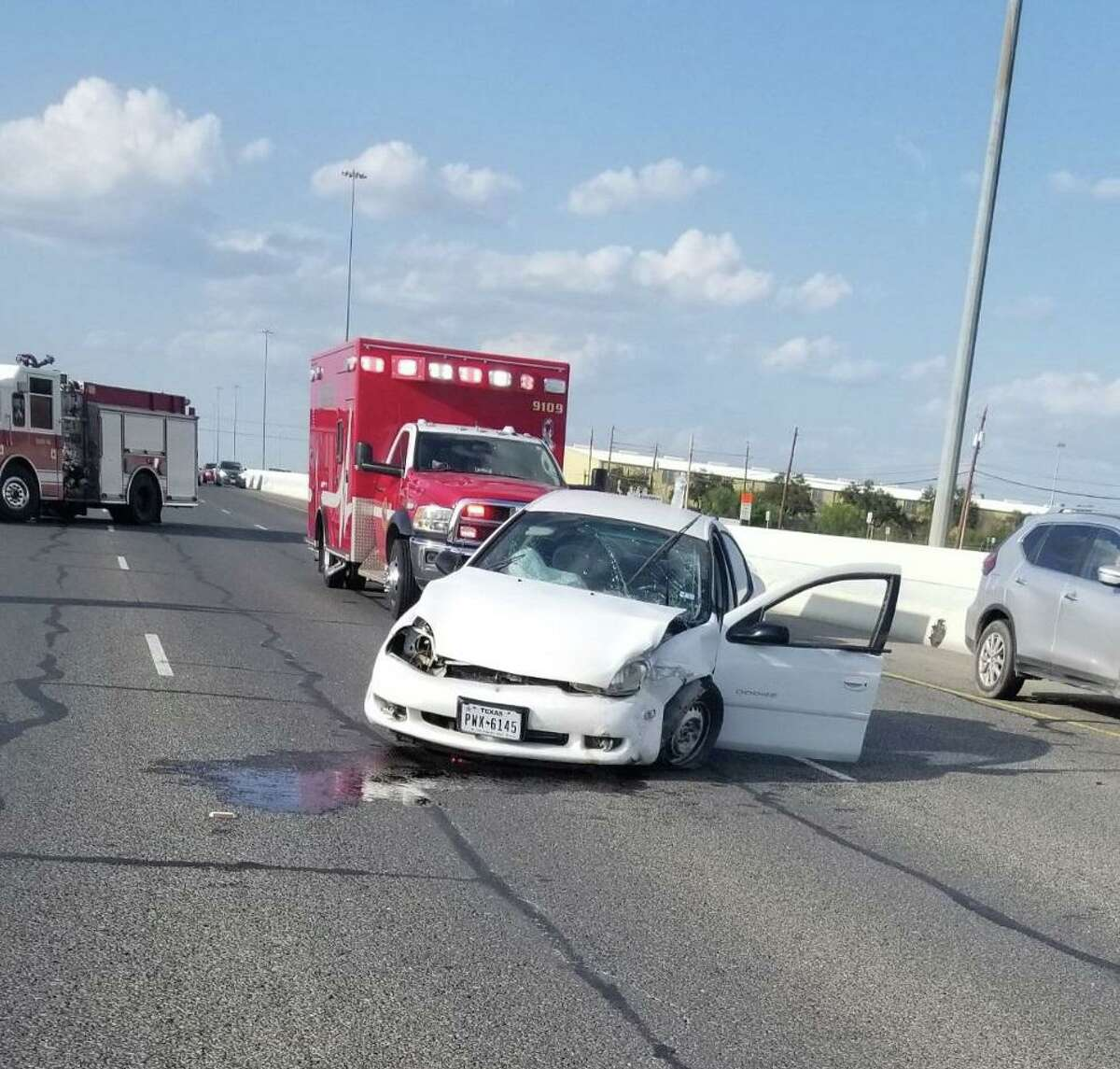 A single-vehicle crash was reported near Exit No. 4 of South Interstate 35. No injuries were reported.