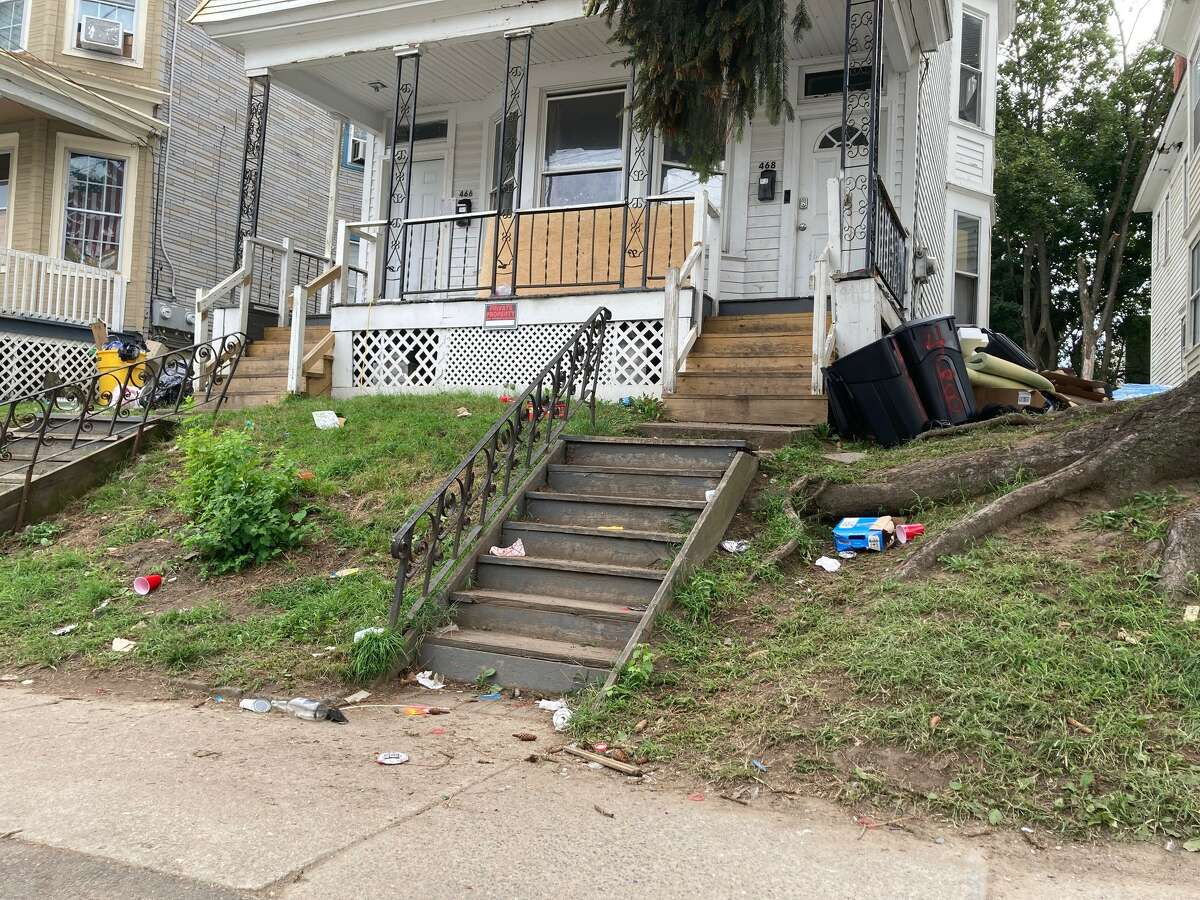 Most of the garbage from the weekend's parties in Albany's Pine Hills was cleaned up by Monday evening, Aug. 30, 2021. Nearly every home had overflowing garbage cans.