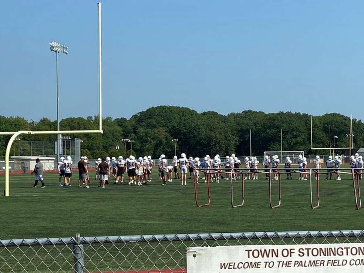 The Stonington football team at practice on Thursday, Aug. 26, 2021.
