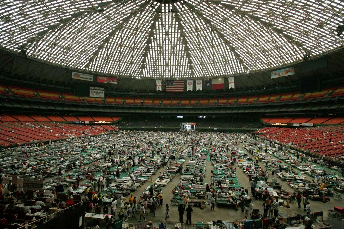 In this Sept. 4, 2005, Houston's Astrodome is filled with people seeking refuge after Hurricane Katrina. The Astrodome will remain silent and empty as the 2011 NCAA Final Four is played next door at Reliant Stadium.