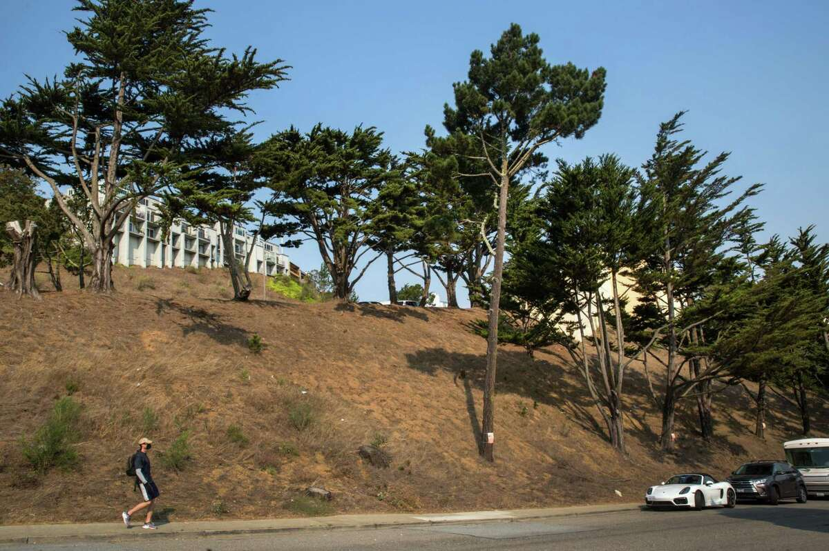 A view of the hillside in San Francisco's Diamond Heights neighborhood where there is a controversial proposal to build 24 townomes next to the affordable housing units.