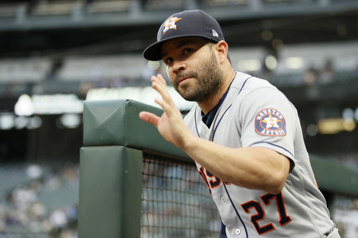 SEATTLE, WASHINGTON - AUGUST 30: Jose Altuve #27 of the Houston Astros waves to fans before the game against the Seattle Mariners at T-Mobile Park on August 30, 2021 in Seattle, Washington. (Photo by Steph Chambers/Getty Images)