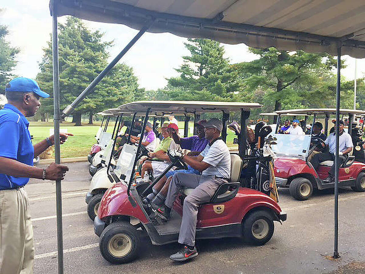 Golfers line up to play in the 2019 Harry A. Penelton Golf Scramble at Oak Brook Golf Club in Edwardsville. The tournament, which is a fundraiser for the Lincoln School Alumni Foundation, returns on Sept. 11 after a one-year absence due to the COVID-19 pandemic.