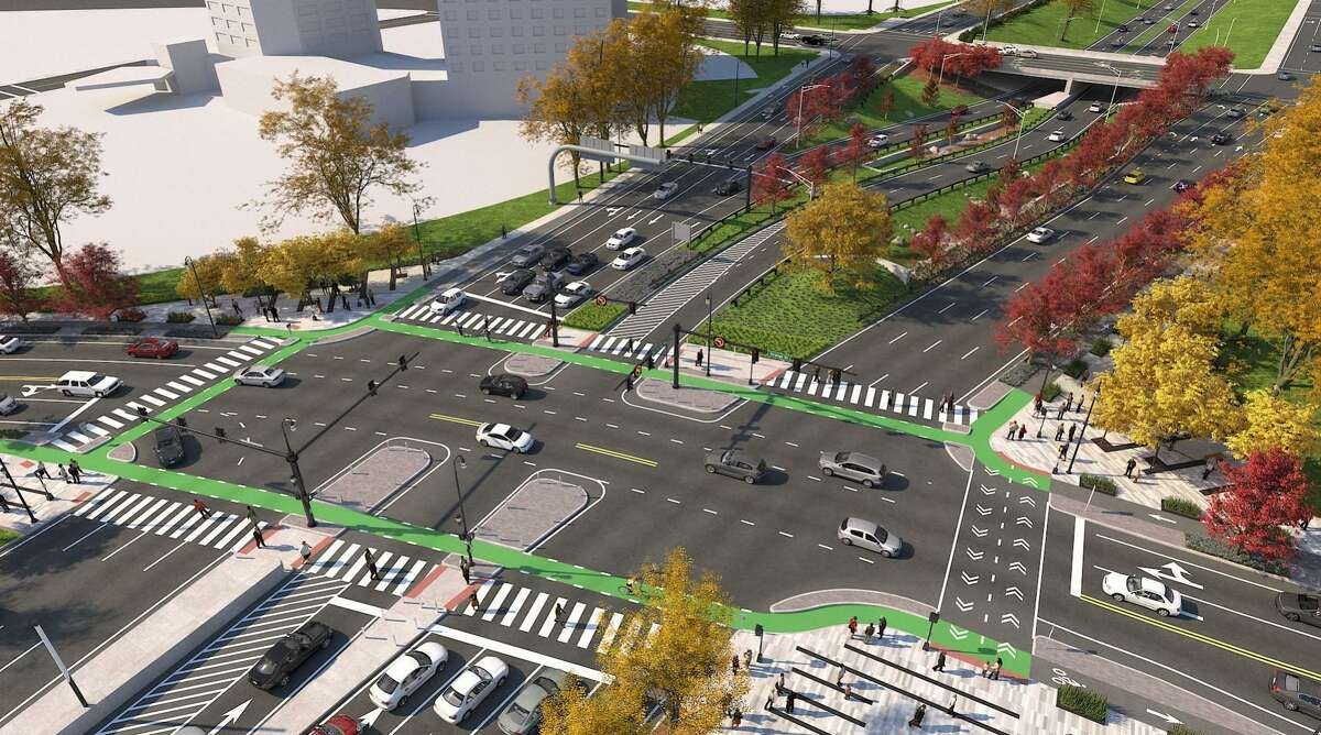 A rendering of the intersection of Orange Street, South Frontage Road and Martin Luther King Boulevard, looking west. Orange Street is running horizontally in the drawing.