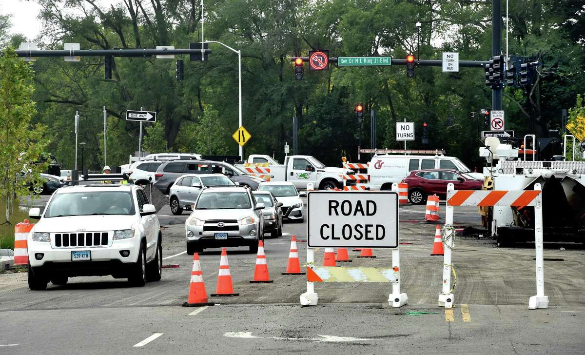 The intersection of Orange Street and Rev. Dr. Martin Luther King Jr. Boulevard in New Haven Aug. 30, 2021, where traffic signals have been installed.