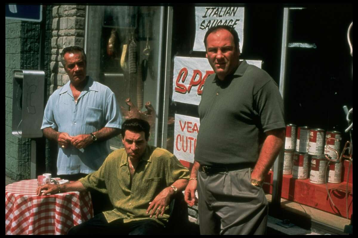 (L-R) Actors Tony Sirico, Steven Van Zandt and James Gandolfini in a publicity still for the HBO TV series The Sopranos. (Photo by Anthony Neste/Getty Images)