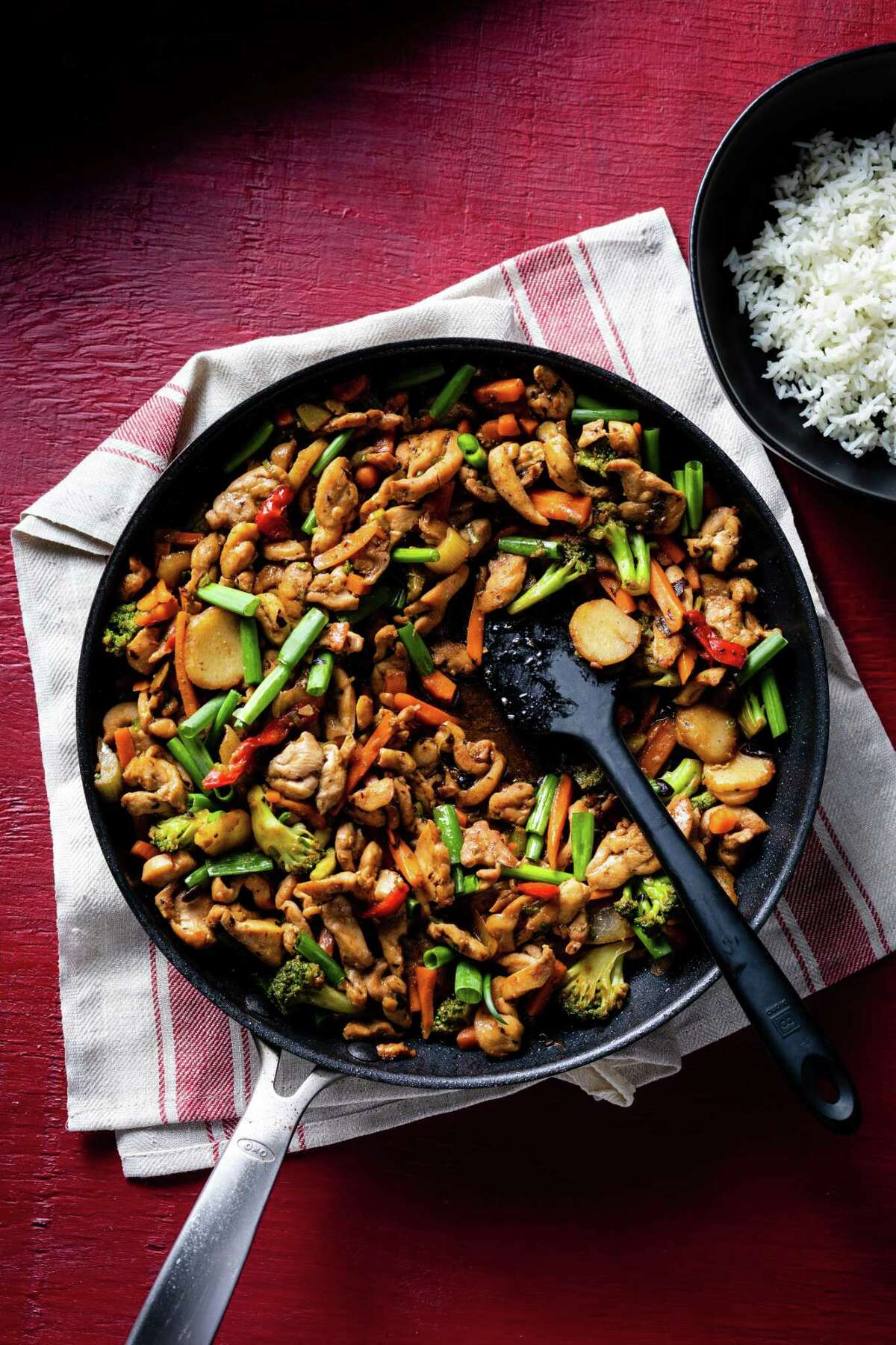 """Stir-Fried Chicken and Vegetables with Black Bean Garlic Sauce from """"Five-Ingredient Dinners"""" by America's Test Kitchen."""