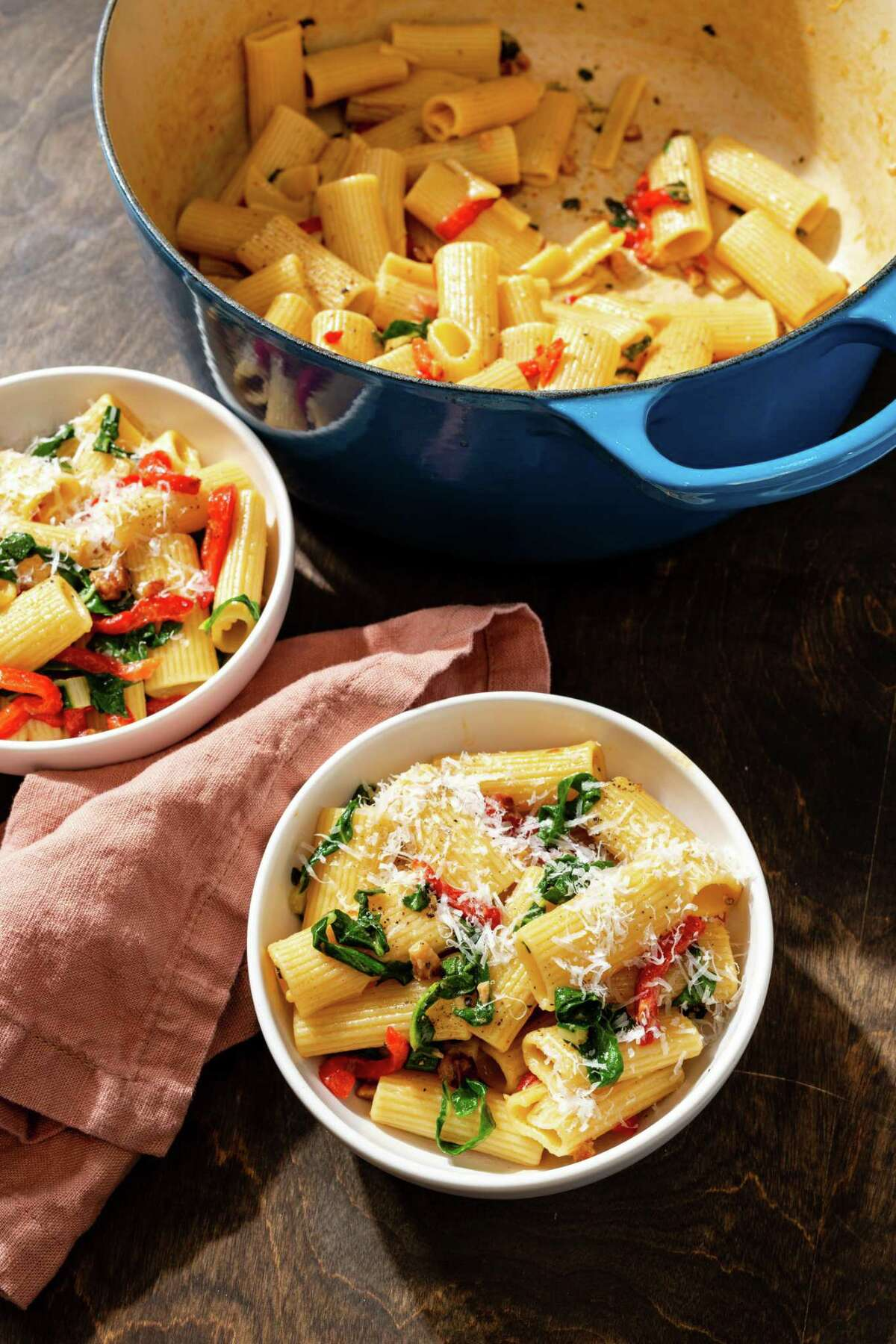 """Rigatoni with Swiss Chard, Bell Peppers, and Pancetta from """"Five-Ingredient Dinners"""" by America's Test Kitchen."""