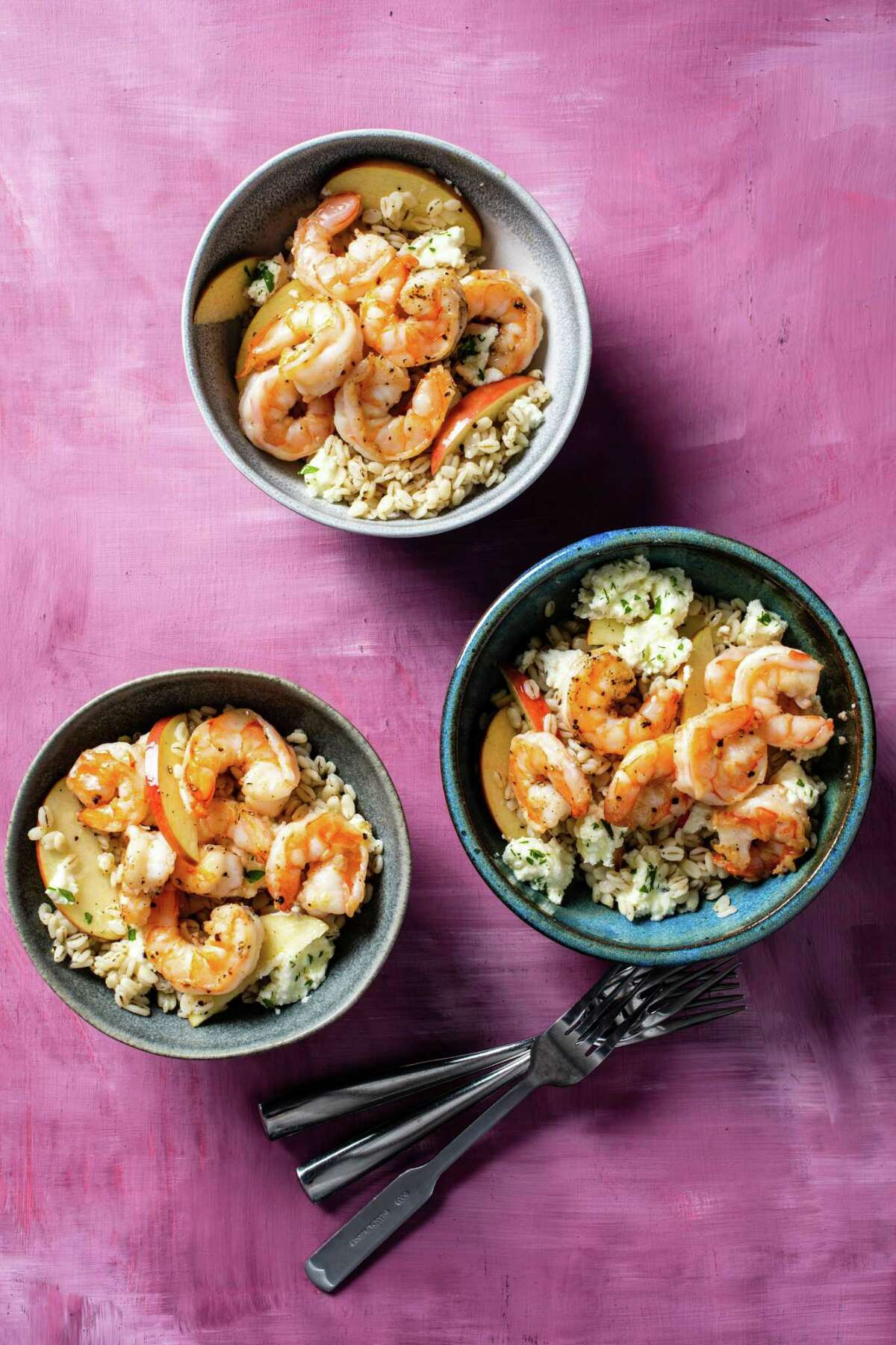 """Shrimp with Warm Barley Salad from """"Five-Ingredient Dinners"""" by America's Test Kitchen."""