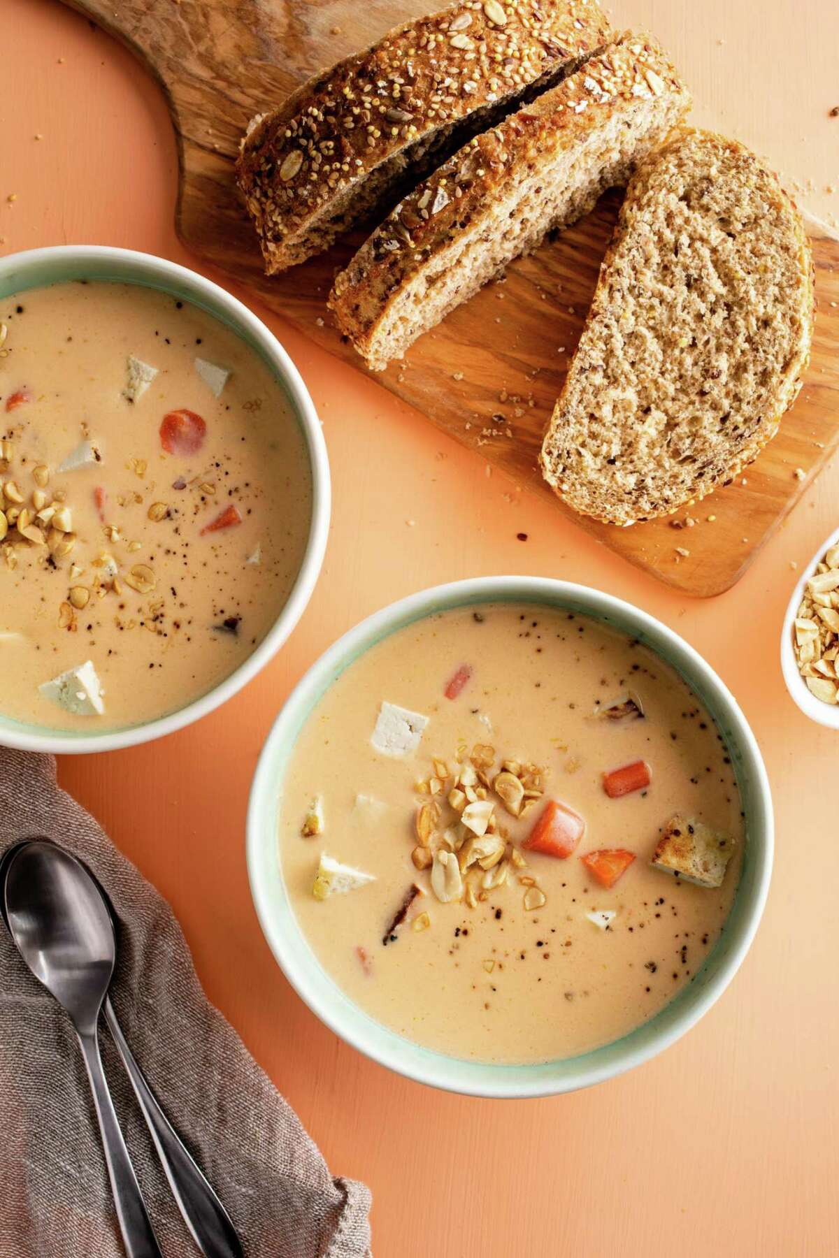 """Gingery Coconut Carrot Soup with Tofu Croutons from """"Five-Ingredient Dinners"""" by America's Test Kitchen."""