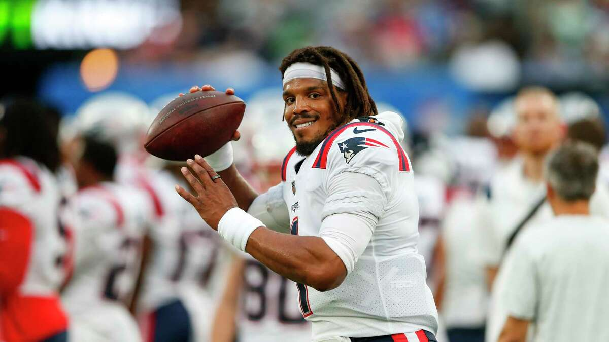 New England Patriots quarterback Cam Newton during the first half of an NFL preseason football game against the New York Giants Sunday, Aug. 29, 2021, in East Rutherford, N.J. (AP Photo/Noah K. Murray)