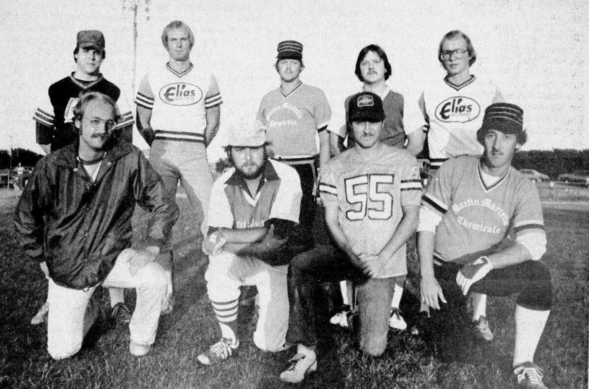 (From left, front row) Members of the Second Team All Stars of the Manistee Softball Association. They are Jeff Tiefenthal, Steve Fredricks, Randy Lavrack and Ken Peppers. (From left, back row) Tim Kolanowski, Bob Hybza, Dar Bladzik, Dennis Palko and Dave Tiefenthal. The photo was published in the News Advocate on Aug. 31, 1981. (Manistee County Historical Museum photo)