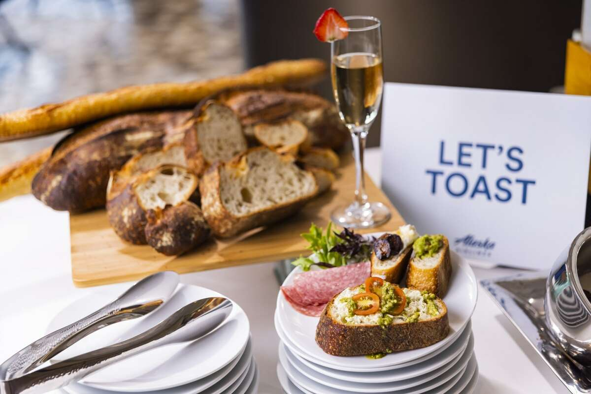 The new Alaska Lounge at SFO includes a sourdough toast cart.