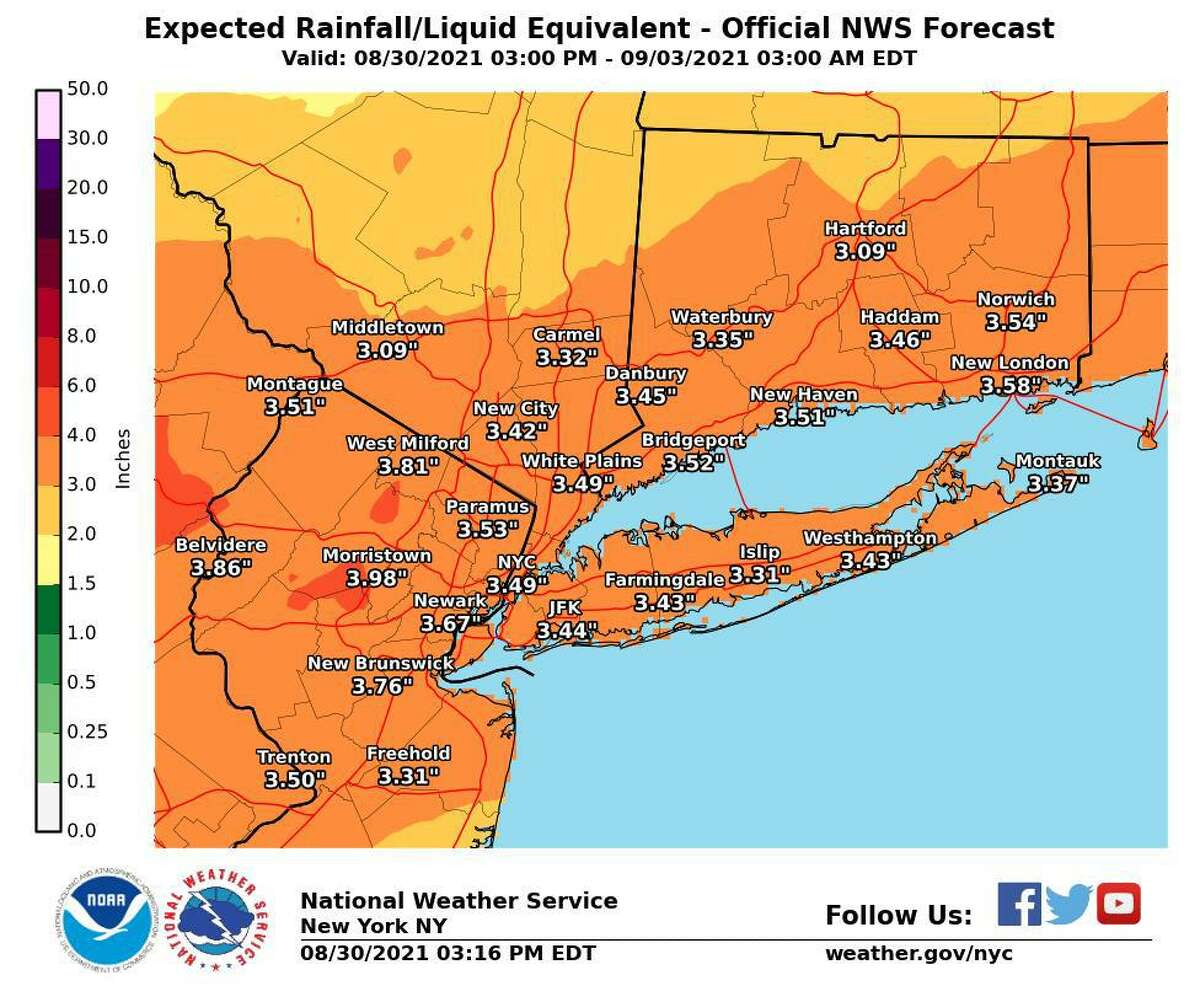 Connecticut will be under a flash flood watch from 2 p.m. Wednesday, Sept. 1, 2021, through 2 p.m. Thursday, Sept. 2, the weather service said.