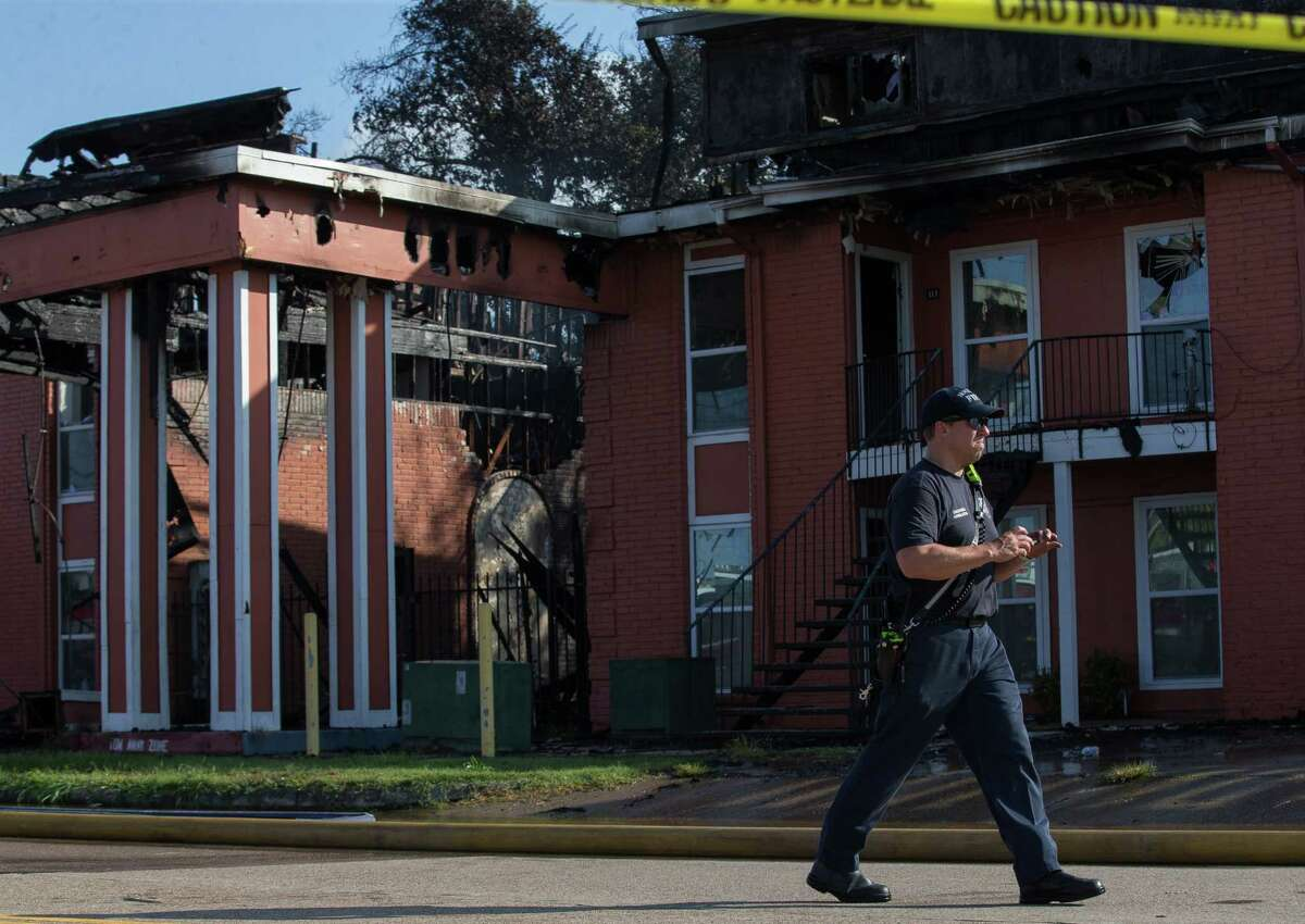 Pasadena and Houston firefighters responded to a two-alarm structural fire at an apartment complex on the intersection of Allen-Genoa Road and Shaver Street, on Tuesday, Aug. 31, 2021, in Pasadena.