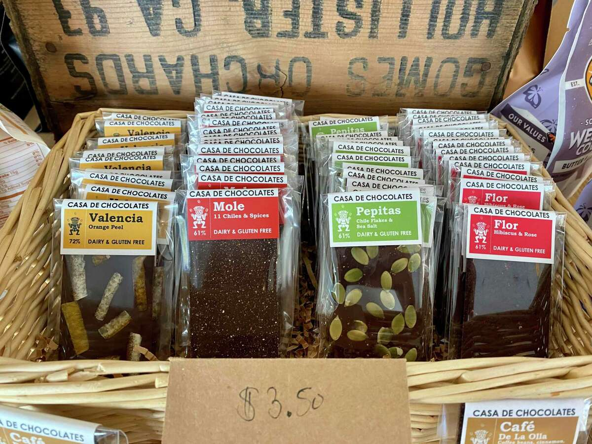 Latin American-inspired chocolate bars from Casa de Chocolates in Berkeley for sale at Tahona Mercado in San Francisco.